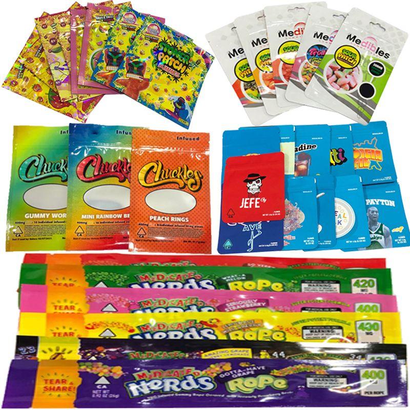 Печенье Runtz полудурков Rope Укусы Chuckles Stoner Medibles Edibles Упаковка для упаковки сухой травы Цветок Resealabled Vape картридж