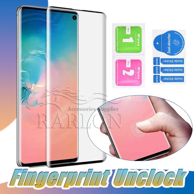 Per 20 Ultra di Samsung NOTA 10 S10 S9 Inoltre S7 bordo dello schermo 3D curvo vetro temperato di impronte digitali Unclock nessun buco della pellicola della protezione della galassia S8