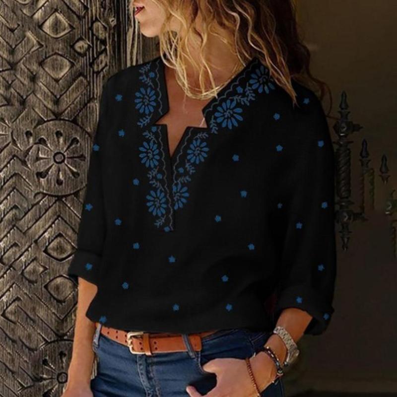 Lässige Vintage Shirt Bluse Frauen mit Blumenmuster Laterne Hülse Mujer Blusas Moda Bluse und De Ansatz Größe Plus-Tops V T5S4