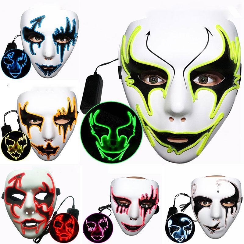Бесплатная доставка Хэллоуина светящихся масок уличного танец партии призрак лицо maskes танцор светящегося ручной роспись привела хип-хоп EL картины F1403