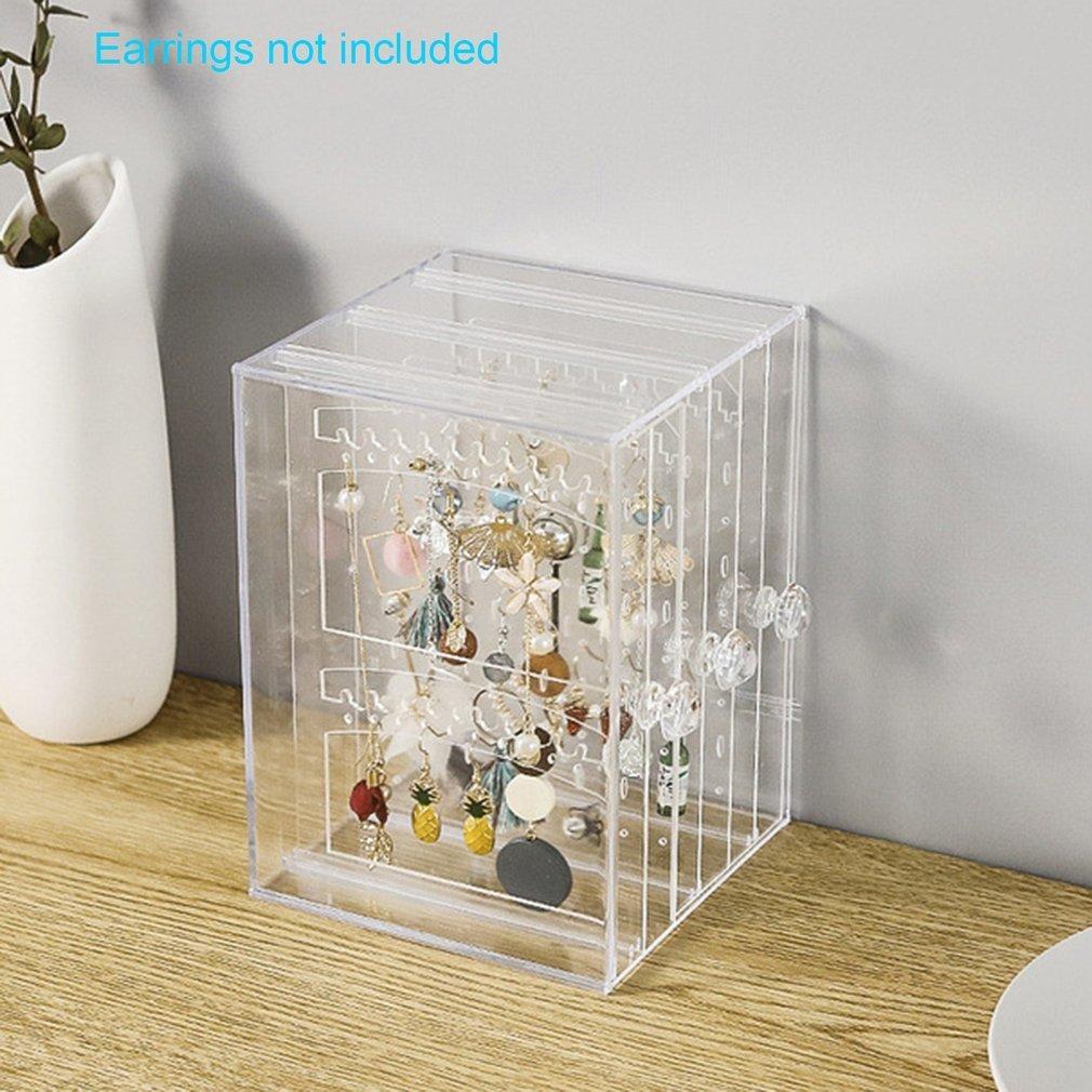 Kutu Masaüstü Dikey Lagerung tamamlanması Fonksiyonlu Takı Saklama Kutusu Plastik Şeffaf Toz Küpe 1 Adet MX200810 Raf