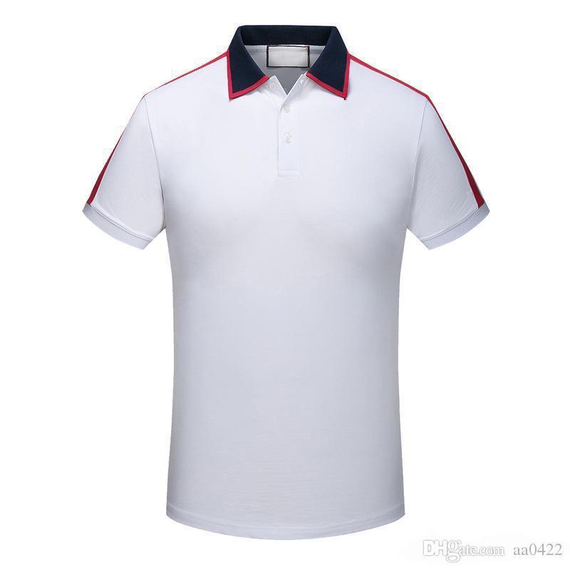 MARCA de la moda de diseño de los polos de los hombres camisas Polos informal camiseta bordada de la medusa de algodón del polo de la camisa de cuello alto calle de lujo