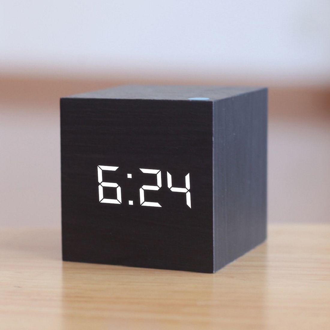 New Qualified Digital Wooden LED Alarm Clock Wood Retro Glow Clock Desktop Table Decor Voice Control Snooze Function Desk Tools LJ200827