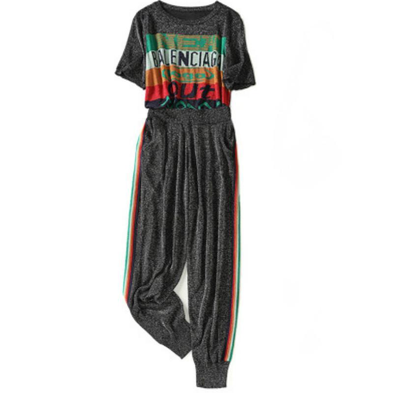 T-shirt 2020 Womens Two Pieces Outfit Ice Silk malha Fatos Carta de manga curta + Esportes terno de calças New Atacado