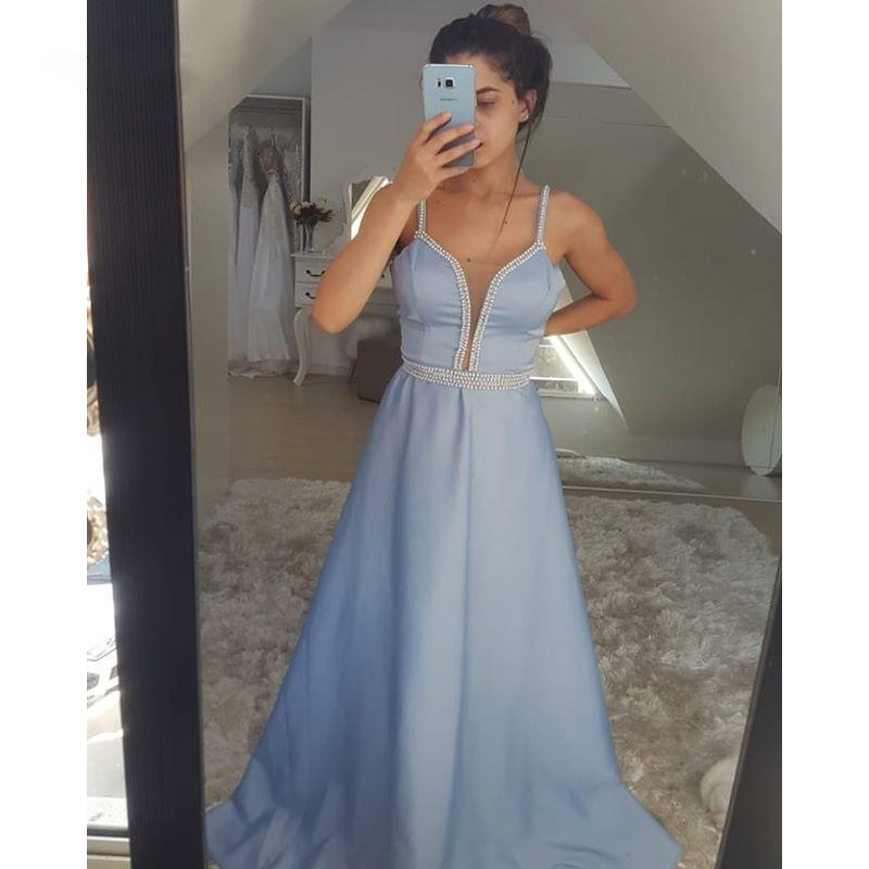 Prom satin bleu robes chérie pealrs réservoir une simple ligne Robes de soirée filles Graduation Robe Robe Graduacion Largo