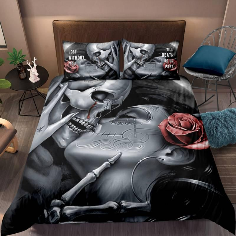 Dropshipping Skull LOVE wife 3D Bedding Set Queen Size Duvet Cover set comforter cover set bedclothes Home room Textiles