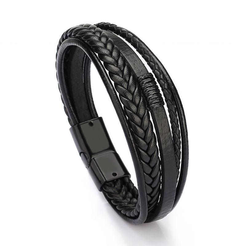 Personalidade charme multi - camada de pulseira de Moda Vintage Mão-de malha de homens pulseiras jóias por Homens Partido melhor presente