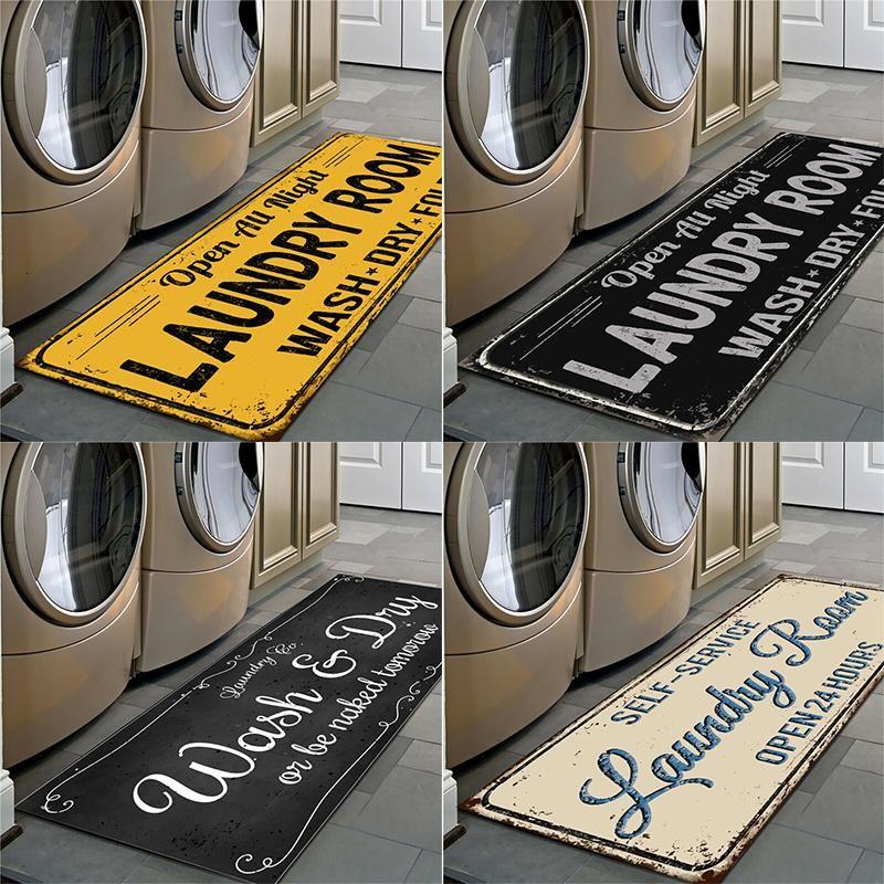 Rutschfeste Bodenmatte Waschküche Matte Eingang Fußmappe Self-Service Waschsalon / Waschküche Matte Carpet Waschküche Waschküche Dekor Balkon Teppich
