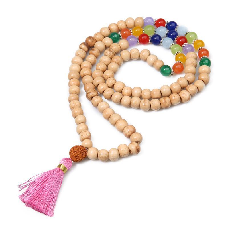 Кулон Ожерелья Showboho8mm Деревянные бусины Семь Чакра Натуральный камень Ручной бисером Кисточкой Ожерелье Медитация Молитва Вечеринка Автомобиль