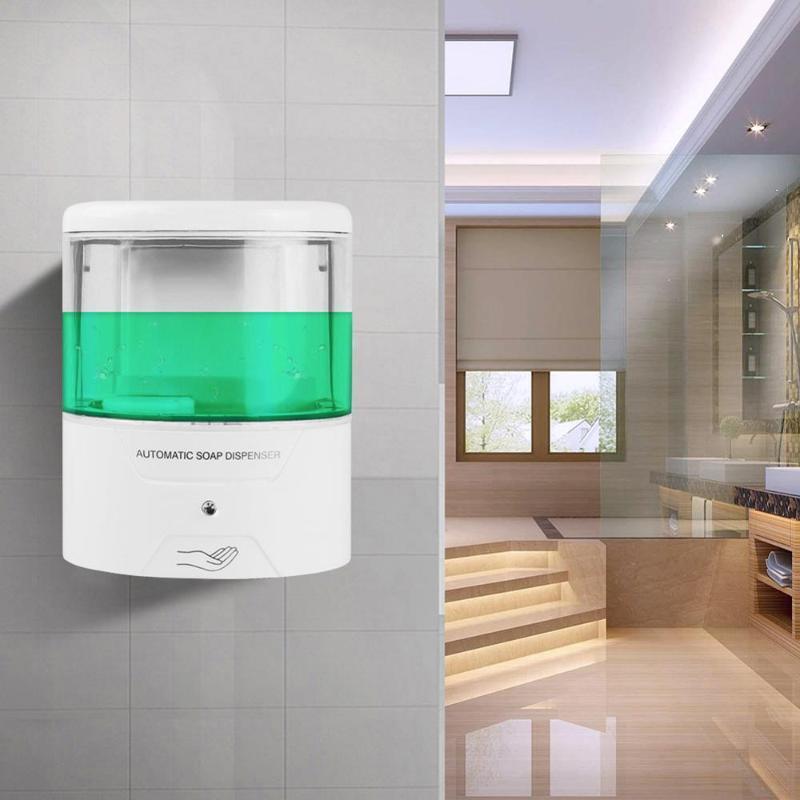 Wandhalterung Seifenspender Wand automatische Sensor 600ml IR Halterung montiert Flüssig-Touch für Küche Hotel Badezimmer