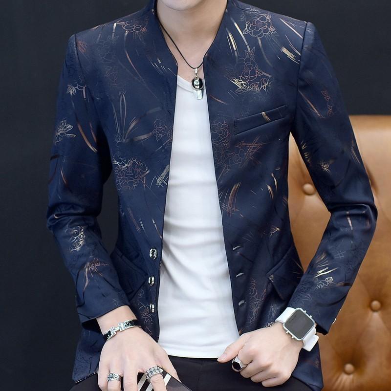 Hommes Blazer Hombre Taille de scène Tissu Pour Dj Chanteur Hombre Chaqueta 2020 Mode Automne Imprimer Slim Fit Blazer Masculino