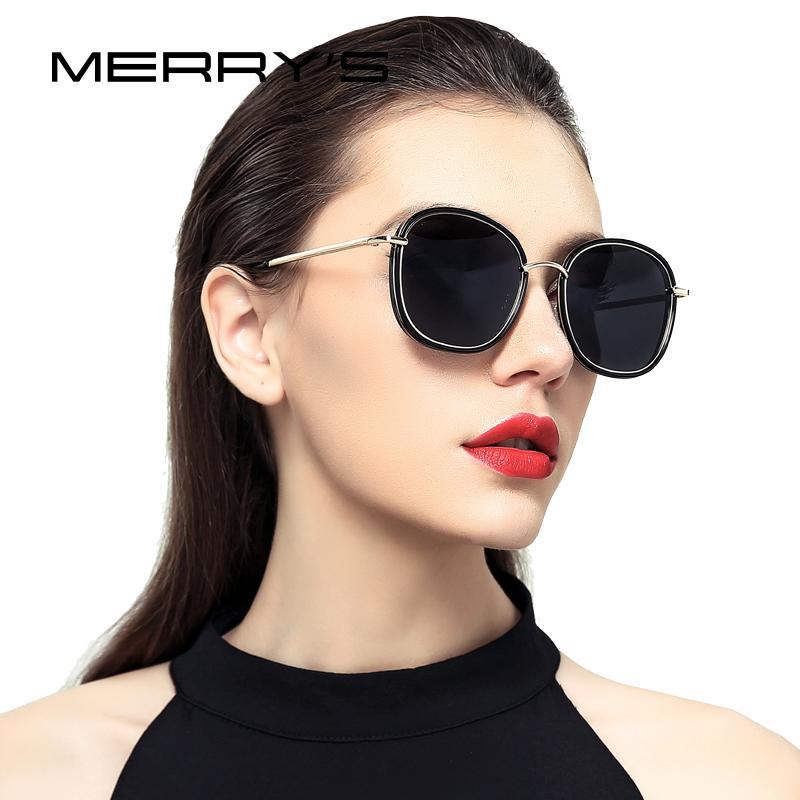 DE DISEÑO mujeres moda gafas de sol polarizadas Gafas de sol templo FELIZ metal 100% de protección UV S'6108