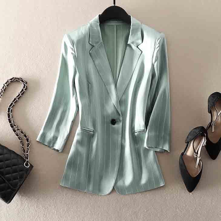 AKVge GoJ8p Incredibile ~ seta brillante linea tratteggiata a strisce sottili triacetato manica della giacca sul posto di lavoro estivo piccolo vestito delle donne tuta ritagliata strato sottile