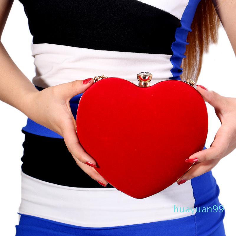 Nueva forma de corazón del bolso del partido de gamuza embrague del monedero del totalizador del bolso
