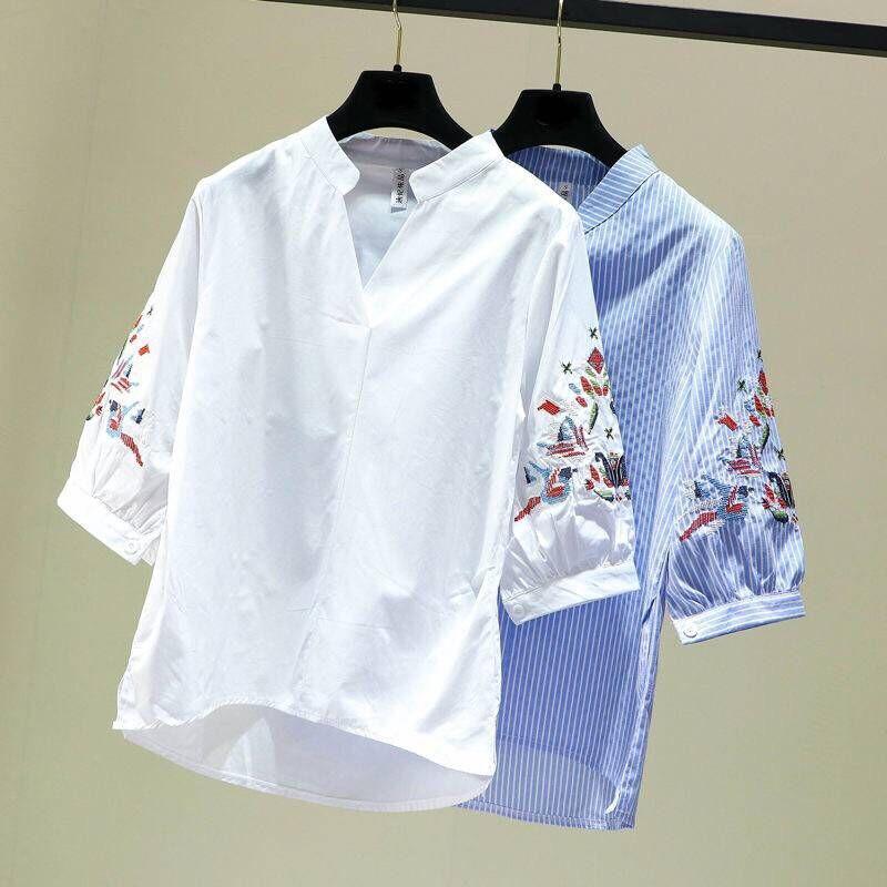Casual Çizgili Kadınlar Bluz Vintage Nakış Tasarım Uzun Kollu V-Yaka Yaka Kadın Gömlek Kış Yeni Gelenler