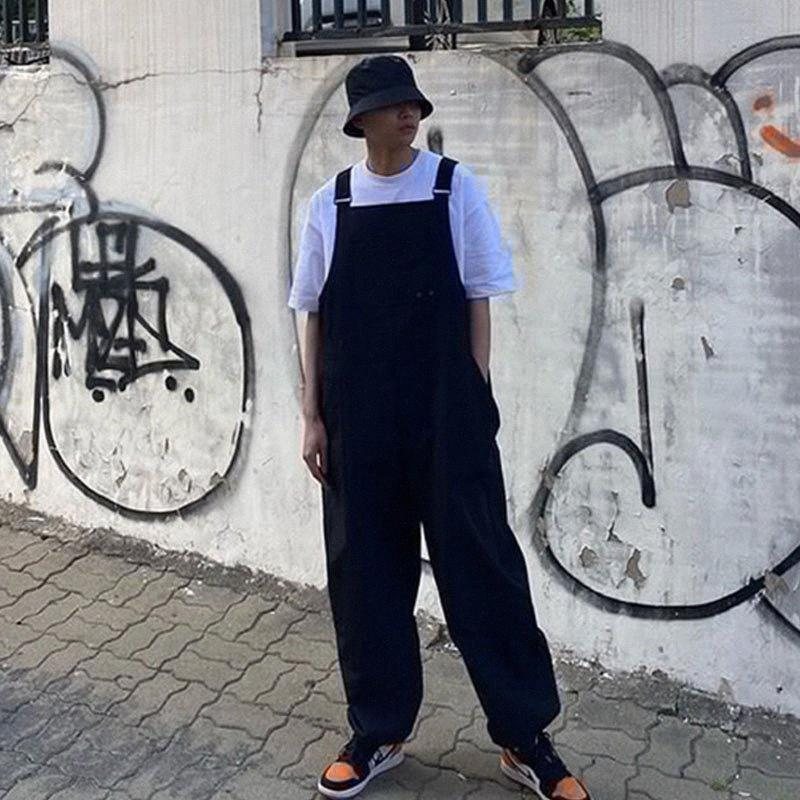 Hommes d'été décontracté en vrac bavoir Harem Pantalon unisexe Homme en vrac Streetwear Hip Hop Salopette Vintage Fashion Pant Jumpsuit 4KoK #