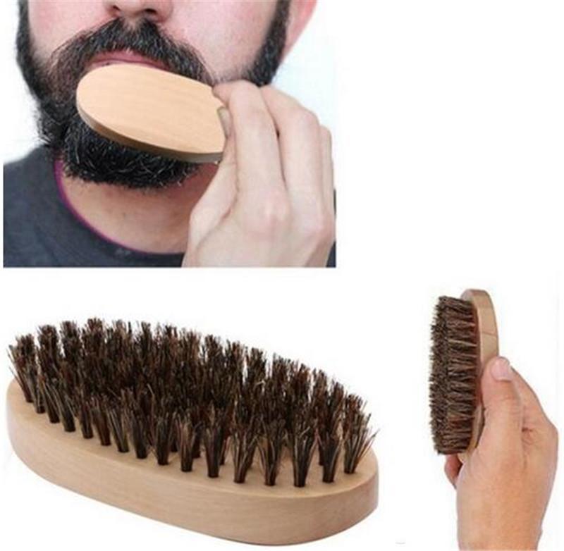 Chegada Nova Mens de javali cerdas duras redonda Madeira Handle Barba, Bigode, jogo de escova maquiagem grátis