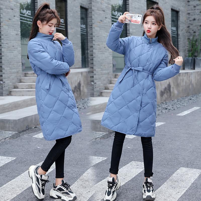Donna parka caldo di inverno di modo giacca lunga spesso dei cappotti benda Stand-up giacca donna collare Plus Size 3XL chaqueta feminino