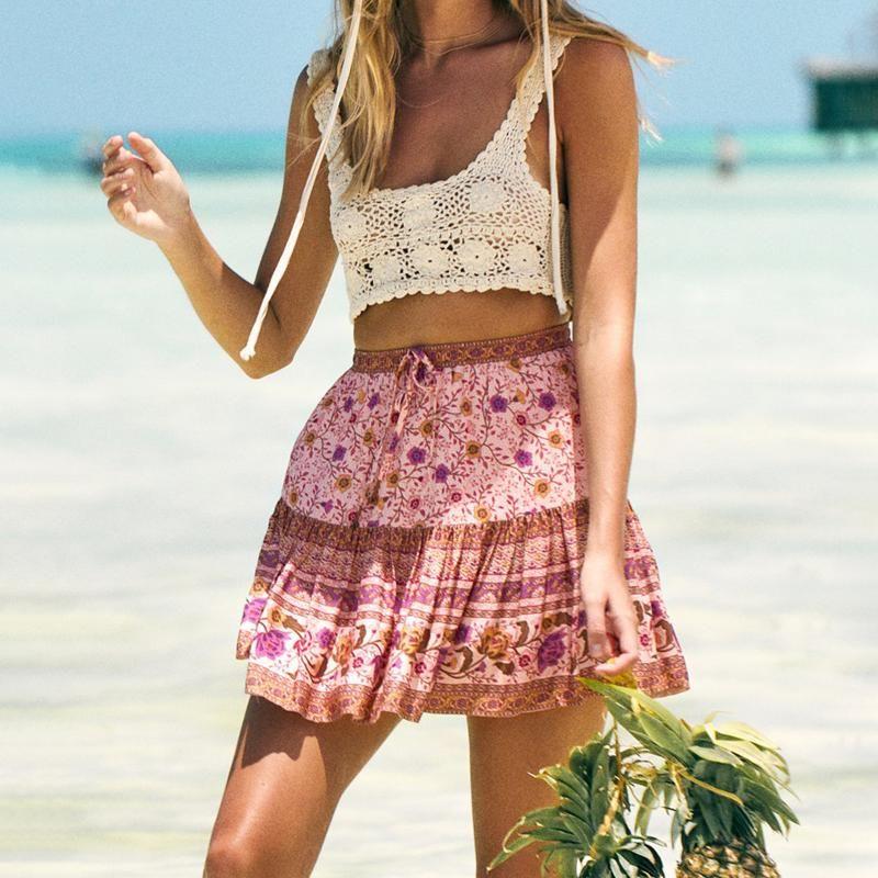 Jastie Rosa Jasmine Florals Boho Skirt Estate Donna Minigonne Casual Hippie Chic Beach Short Skirt faldas mujer moda 2020 saia