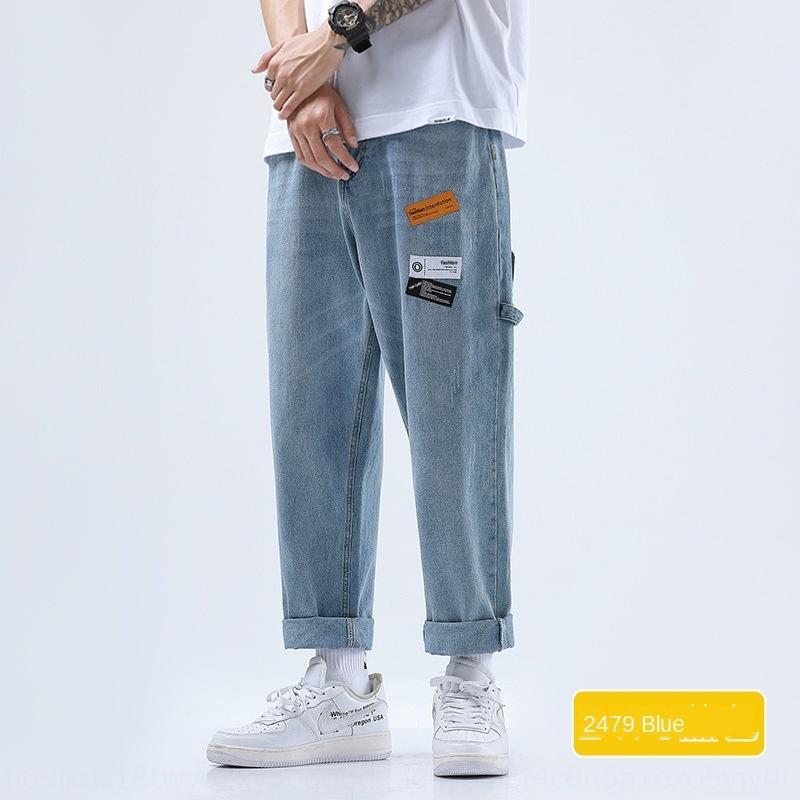 calças marca de moda verão soltas calças de brim dos homens calça casual reta fina calças cortadas casuais calças compridas dos homens na moda versátil ampla le