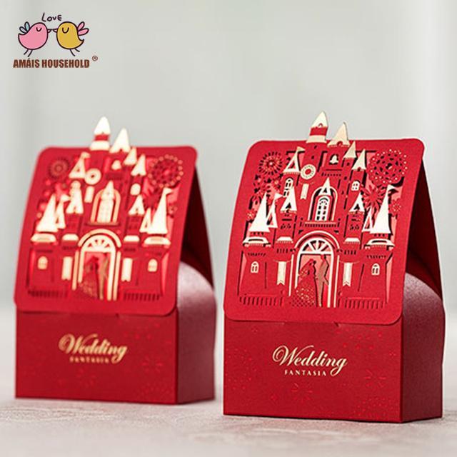 50pcs/lot Romantic Golden Castle Bride and Groom Theme Wedding Decoration Candy Gift Box