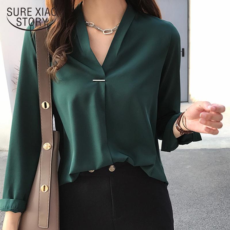kadınlar şifon bluz gömlek uzun kollu bayan gömlek moda üstleri ve bluzlar 2020 3XL 4XL büyük beden kadınlar 1681 50 CX200819 başında womens