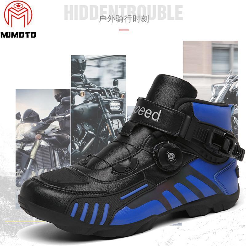 Herren-Motorrad-Boot Biker Wasserdichtes Geschwindigkeit motocroßlaufen Stiefel Rutschhemmende Schutzmotorradfahren Off-Road-Schuhe