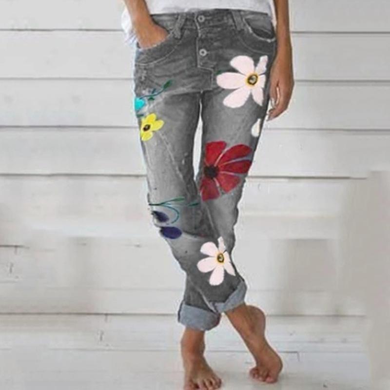 2020 autunno Trendy Donna Denim Pant stampa floreale Jeans pantaloni a vita alta Femme tasca dei pantaloni Fit gamba dritta Jogger Jeans
