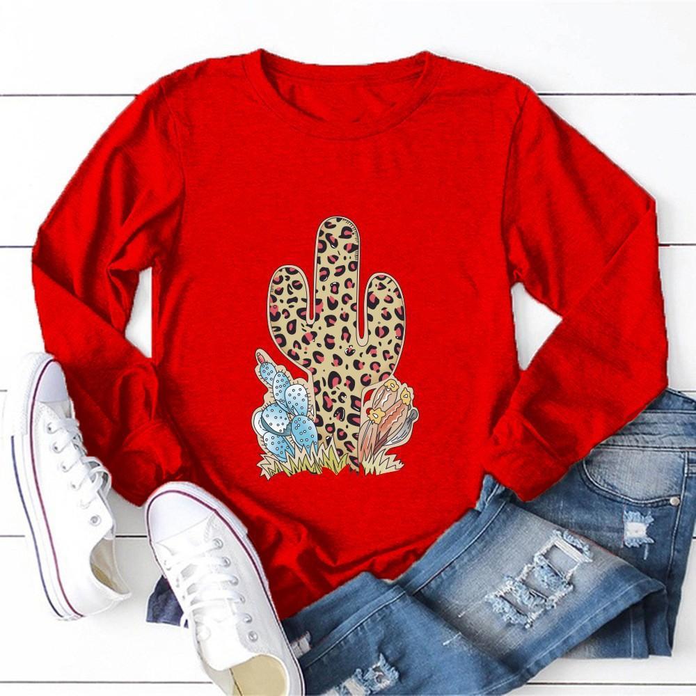 Además camiseta de las mujeres de lujo de tamaño Tops cactus Impreso de manga larga remata la camiseta del cuello de la camiseta O otoño manera de las mujeres