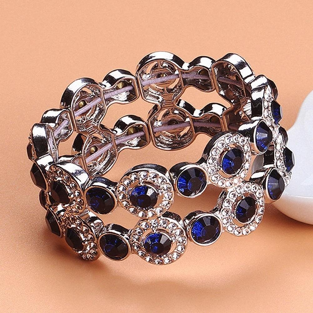 Moda Dual Layer, Brillante, Gioielli strass Hollow partito del braccialetto Il braccialetto delle donne Nuovo Chic xKOd #
