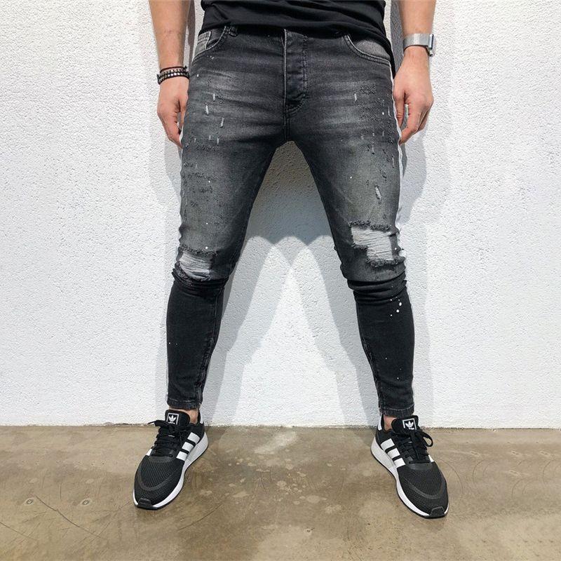 Jeans da uomo Skinny Men Stretch Denim Pants Streetwear Distressed Rotted Freyed Slim Fit Pantaloni 2021 Matita C1328