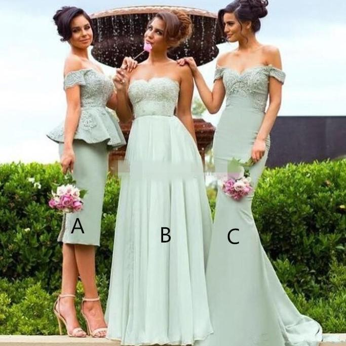 2021 Pastel Green Bridesmaid Dresses Peplum A Line Sheath Mermaid Off the Shoulder Custom Made Lace Applique Maid of Honor Gown