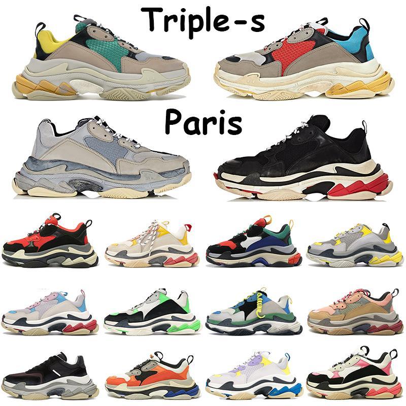 Triple-S Zapatos Casual Beige Verde Amarillo Gris Rojo Azul Rojo Plata Negro Triple blanca púrpura de oro rosa para hombre Borgoña Formadores estilista de la zapatilla de deporte