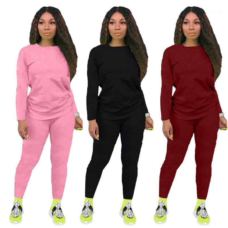 Сплошной цвет костюмы Casual 2 шт Брюки Тонкая с длинным рукавом O шеи Спортивных костюмов Моды женщин костюмов женщины конструктора
