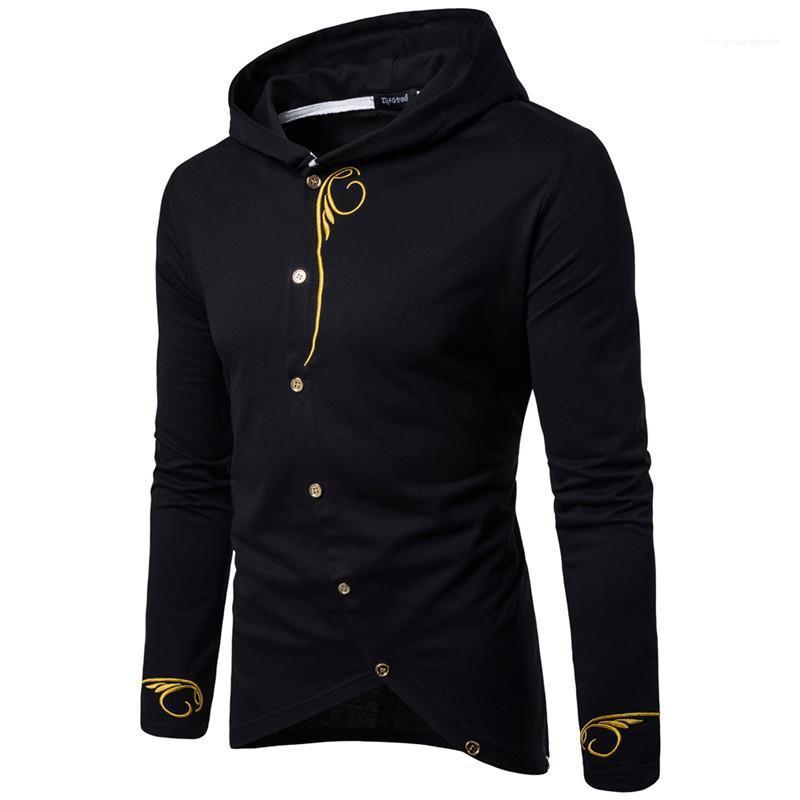 Pulsante di lusso del progettista dei Hoodies del Mens Moda ricamo Homme magliette casual Abbigliamento Uomo con