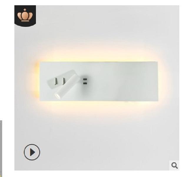 2020 vendita calda la testa di ricarica wireless semplice camera da letto Albergo studio USB ha condotto la lettura piccola lampada da parete di illuminazione multifunzionale 3W 110-240V B026