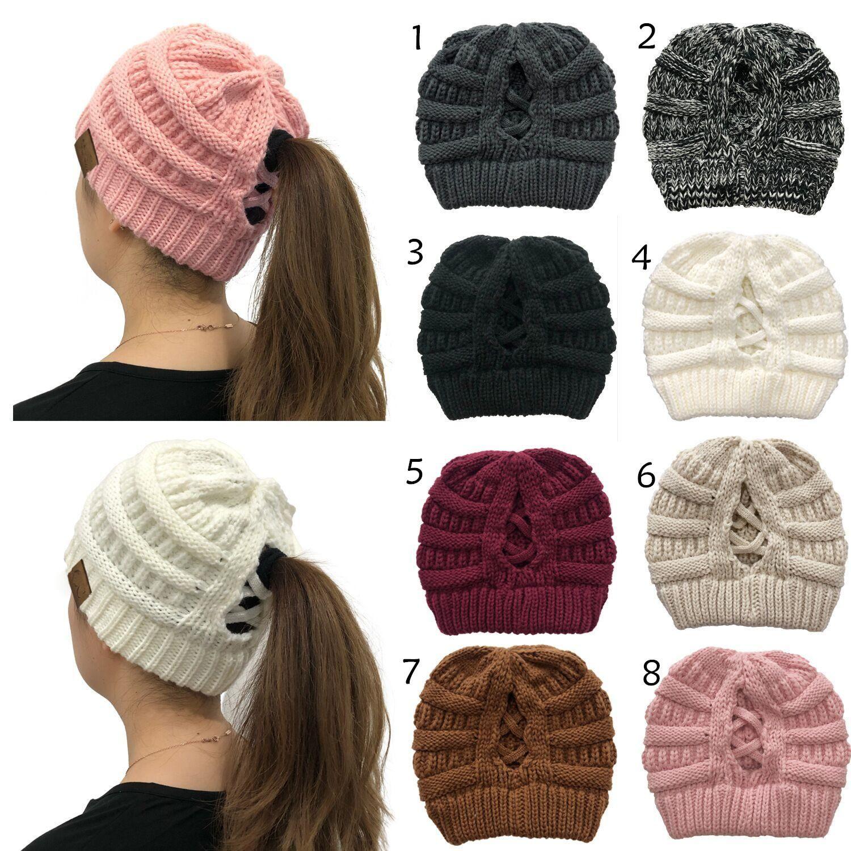 Womens İçin 2020 Yeni Kış Isıtıcı Şapka Örme at kuyruğu Beanie Geri Hollow Çapraz at kuyruğu Skully Kayak Moda Yumuşak Kalın Caps