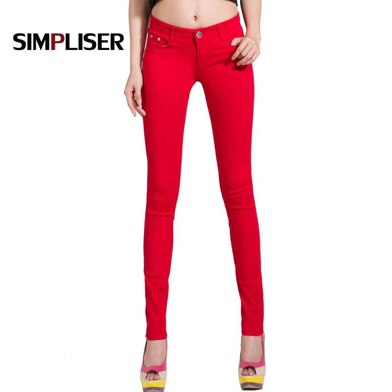 Pants Women White Red Black 20 Candy Color Women Jeans Pants Plus Size Skinny Trousers Stretch Jeans Leggings Femme Pantalon CX200821