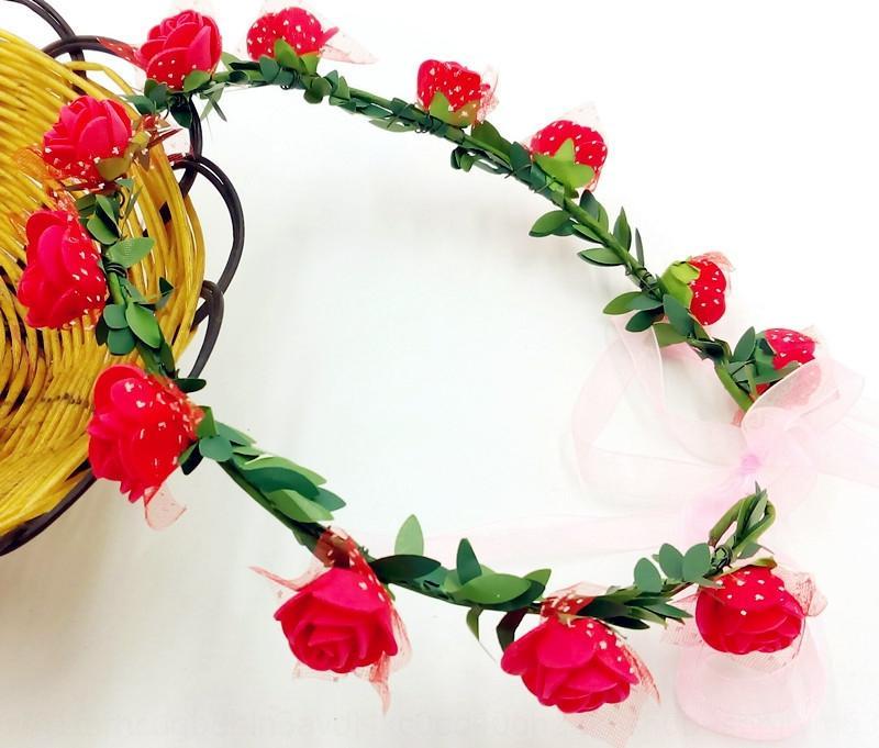 Nupcial de la boda boda del tocado ornamento de la foto de simulación playa recorrido vacaciones de estilo de Corea aumentó tocado de corona de flores