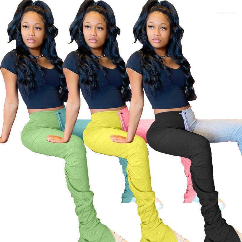 Stacked contrasto pantaloni della tuta di colore di modo Pieghe Split Micro Pantaloni Flare Donne vita alta Pantaloni Two con pannelli a colori