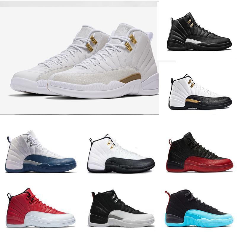 toptan yeni klasik 12 basketbol ayakkabıları spor ayakkabı grip Oyun Mavi Süet Gym Kırmızı usta taksi kurt gri playoff yün moda erkek ayakkabı