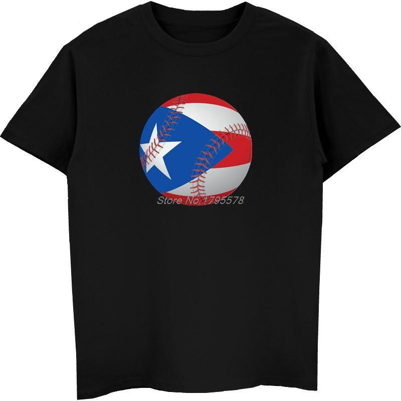 Fashion Summer Puerto Rico Flag Baseball Ball Print T Shirt Men Cotton Short Sleeve T Shirt Hip Hop Tees Top Harajuku Streetwear Create Your Own T Shirt Design White T Shirt Design