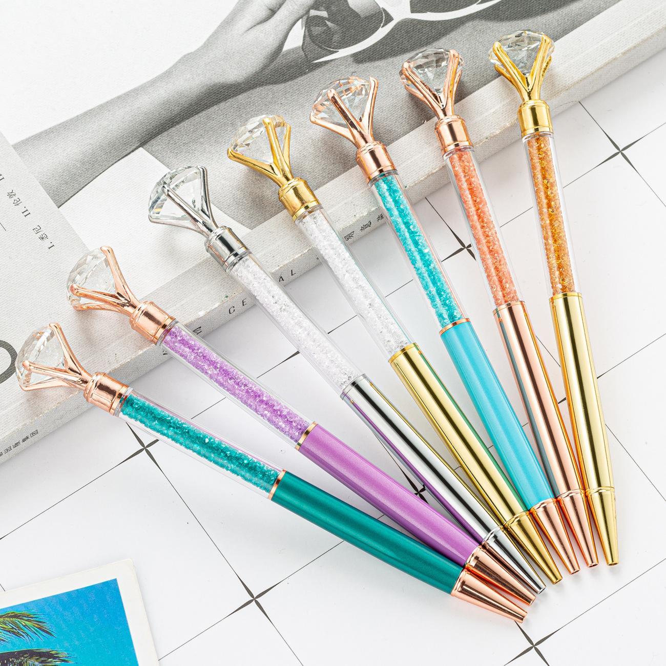 새로운 큰 다이아몬드 볼펜 펜 블링 작은 크리스탈 금속 펜 학교 사무실 쓰기 용품 비즈니스 펜 편지지 학생 선물
