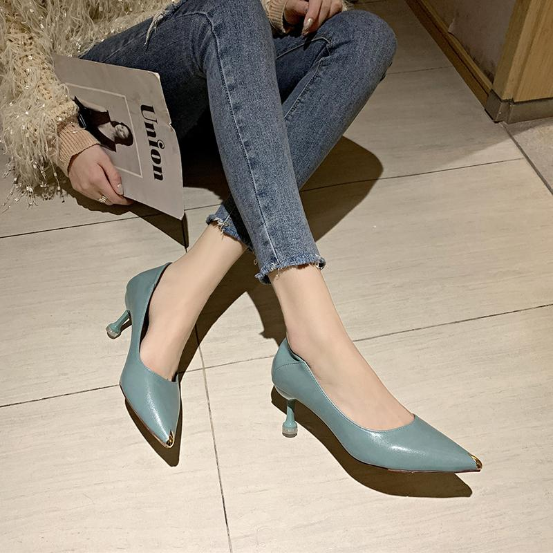 Talones de estilete mujeres oficina metal punta estrecha tacones altos estilo maduro PU superficial de piel de las mujeres bombea los zapatos finos del talón de 2020