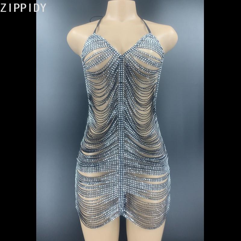 Preto de prata strass Chains Backless Vestidos Mulheres Cantor Prom oco vestido do aniversário Comemore MINI Youdu