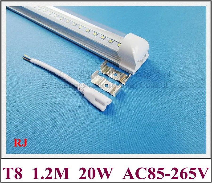 TUNE LED intégré TU LED Lampe de lampe LED TUBE Ampoule 1200mm 4FT SMD2835 20W 2400LM AC85V-265V Entrée en aluminium