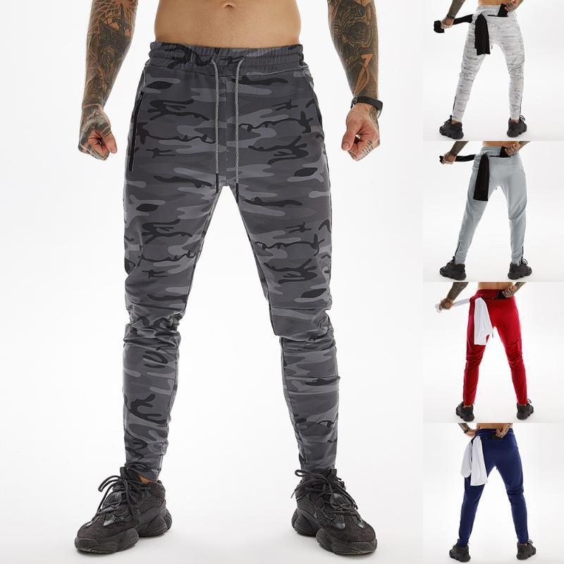 2020 NUOVI uomini Camouflage Pantaloni Tinta unita Casual Moda Slim elastico in vita Cuffed Piedi conici Zipper Pantaloni Sport