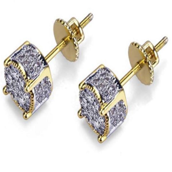 Diseñador de joyería de los pendientes pendientes de lujo para hombre de las mujeres de moda de Hip Hop Diamante Stud Pendientes de Bling CZ heló hacia fuera de la roca del boda ronda A1286
