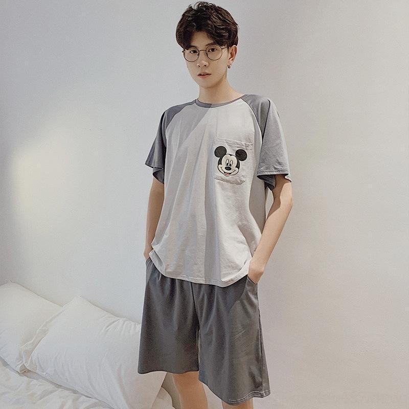 hEt63 stampati pigiama estivo accappatoio di cotone tirare sciolti brevi abiti maschili Accappatoio vestiti a casa vestito nuovo manicotto alla moda all'aperto h S45Fu