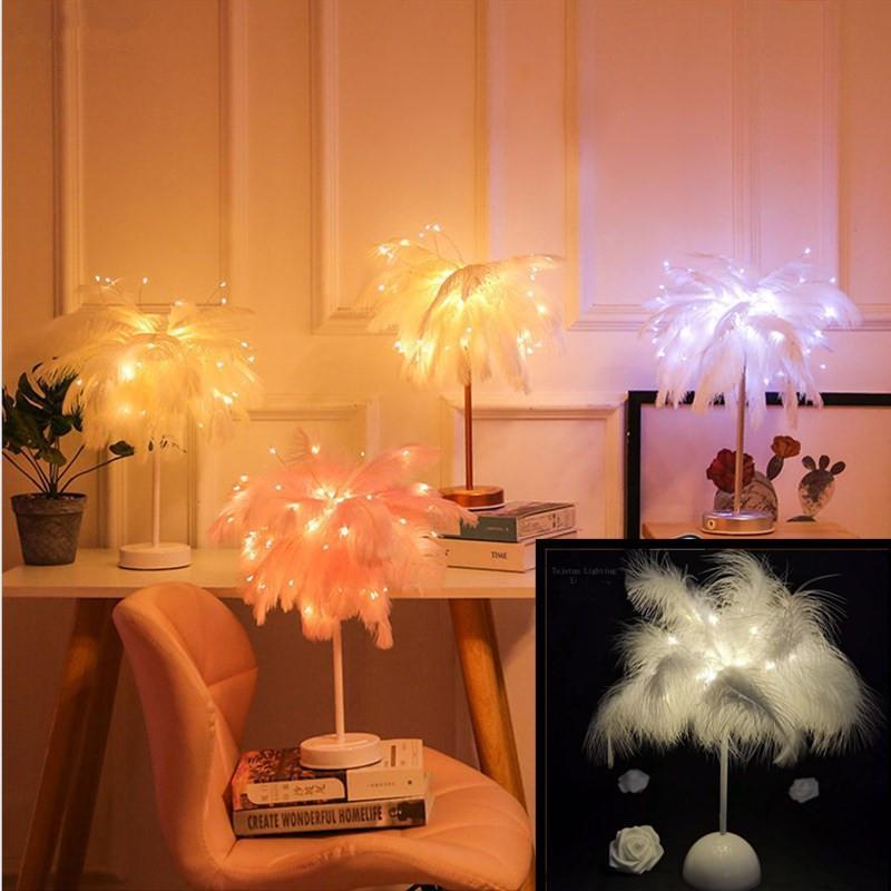 Lâmpada de mesa de penas criativa aquecer branco luz árvore abajur penas menina levou casamento decorativo luzes rosa aniversário presente